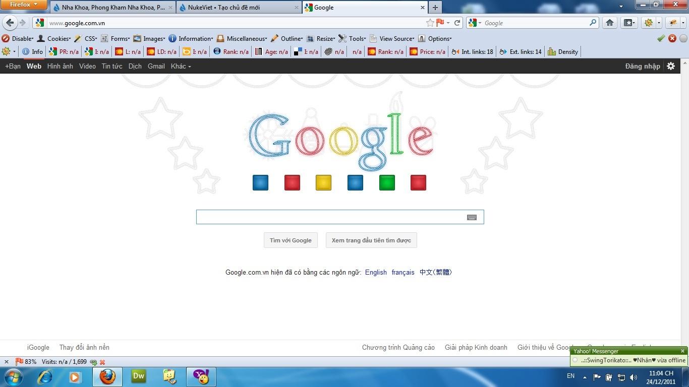 Google chào mừng Noel 2011